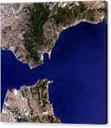 Satellite Image Of The Strait Of Gibraltar Canvas Print