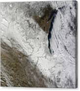 Satellite View Of Snow And Cold Canvas Print