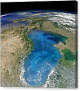 Satellite View Of Swirling Blue Canvas Print
