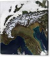 Satellite View Of The Alps Canvas Print