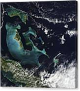 Satellite View Of The Bahama Islands Canvas Print