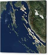 Satellite View Of The Croatian Islands Canvas Print