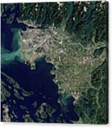 Satellite View Of The Frasier River Canvas Print