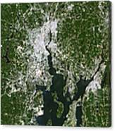Satellite View Of The Pawtucket Canvas Print