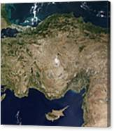 Satellite View Of Turkey And The Island Canvas Print