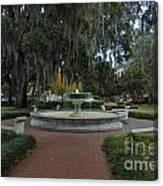 Savannah Square And Fountain Canvas Print