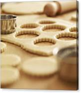 Scalloped Cookie Cutters And Sugar Cookie Dough Canvas Print