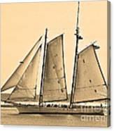 Scenic Schooner - Sepia Canvas Print