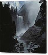 Scenic View Of Vernal Fall Canvas Print