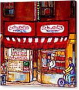 Schwartz's Deli-montreal Street Scenes-painting-by  Quebec Artist-carole Spandau Canvas Print