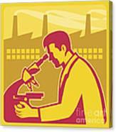 Scientist Researcher Factory Building Retro Canvas Print