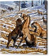 Scimitar Cats Attacking A Horse Canvas Print