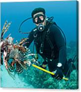 Scuba Diver With Spear Of Invasive Canvas Print
