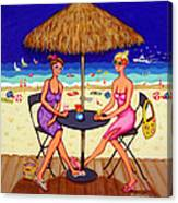 Sea For Two - Girlfriends At Beach Canvas Print