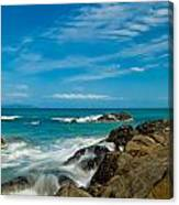 Sea Landscape With Beach Coast Rocks And Blue Sky Canvas Print