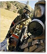 Seabees Conduct Decontamination Wash Canvas Print