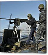 Seaman Fires A .50 Caliber Machine Gun Canvas Print