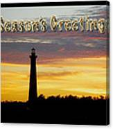 Season's Greetings Card - Cape Hatteras Lighthouse Sunset Canvas Print