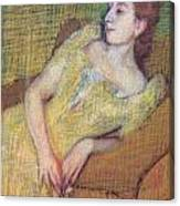 Seated Woman In A Yellow Dress Canvas Print