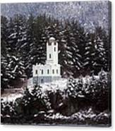 Sentinel Island Lighthouse In The Snow Canvas Print