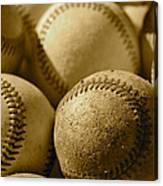 Sepia Baseballs Canvas Print