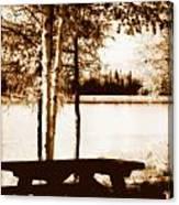 Sepia Picnic Table Lll Canvas Print