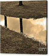 Sepia Silhouetted Reflections  Canvas Print