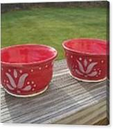 Set Of Small Red Bowls Canvas Print