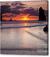 Setting Between The Needles Canvas Print