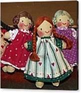 Seven Handmade Dolls Canvas Print