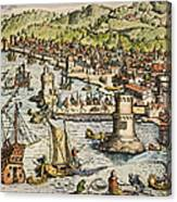 Seville: Departure, 1594. /ndeparture For The New World From Sanlucar De Barrameda, The Port Of Seville, Spain. Line Engraving, 1594, By Theodor De Bry Canvas Print