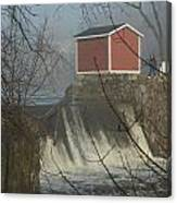 Shed By The Dam In Fog Canvas Print