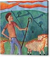 Shepherd Boy Detail Of Red Sky At Night Canvas Print