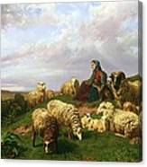 Shepherdess Resting With Her Flock Canvas Print