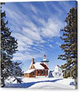 Sherwood Point Lighthouse And New Snow -  - D001650 Canvas Print