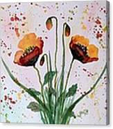 Shining Red Poppies Watercolor Painting Canvas Print
