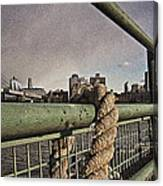 Ship Rope With Brooklyn Bridge Canvas Print