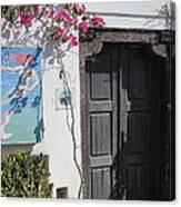 Shop On The Corner Santorini Canvas Print