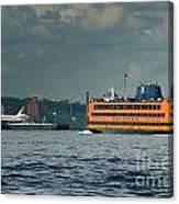 Shuttle Enterprise Glides Past Staten Island Ferry Canvas Print