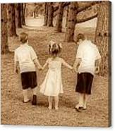 Siblings Taking A Walk Canvas Print