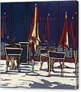 Sidewalk Cafe - Linocut Print Canvas Print