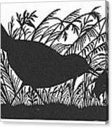 Silhouette: Bird & Insect Canvas Print