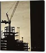 Silhouette Crane At A Skyscraper Canvas Print