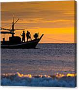 Silhouette Fisherman On Boat In Sunset Huahin Canvas Print