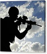 Silhouette Of A Soldier Canvas Print