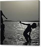 Silhouette Of Boys Fishing Canvas Print
