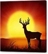 Silhouette Of Deer With Big Sun Canvas Print