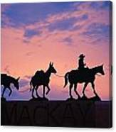 Silhouette Of Donkey Train Statue Canvas Print