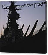 Silhouette Of The Battleship U.s.s Canvas Print