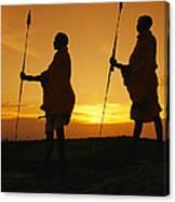 Silhouetted Laikipia Masai Guides Canvas Print